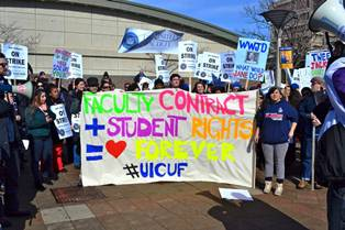 Students and faculty during February strike